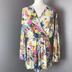 Honey Punch Long Sleeve Floral Romper